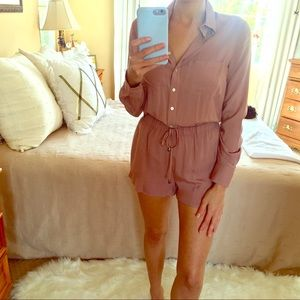 ⭐️ NEW Mauve Button Down Long Sleeve Romper Small